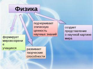 Физика формирует мировоззрение учащихся развивает творческие способности под