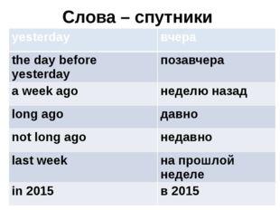 Слова – спутники yesterday вчера the day before yesterday позавчера a week ag