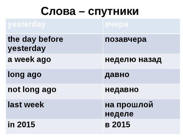 Слова – спутники yesterday вчера the day before yesterday позавчера a week ag...