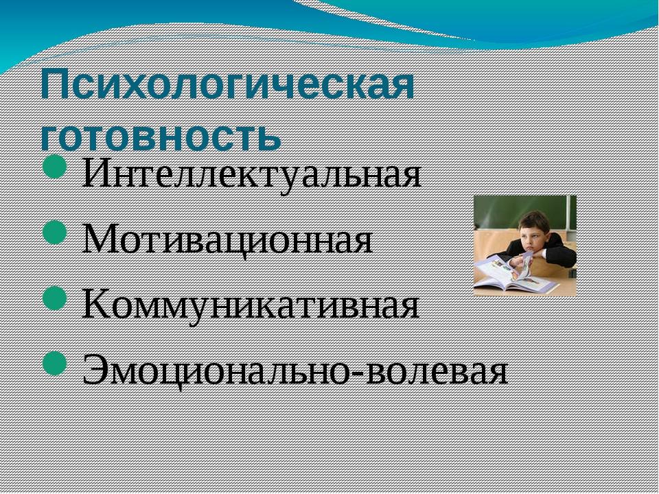 Психологическая готовность Интеллектуальная Мотивационная Коммуникативная Эмо...