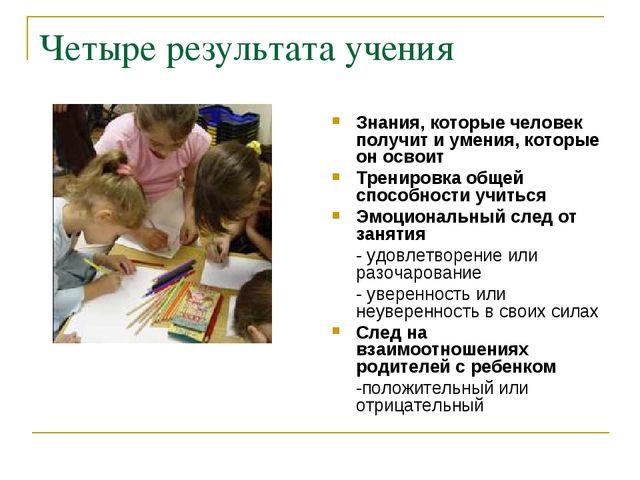 Четыре результата учения Знания, которые человек получит и умения, которые он...