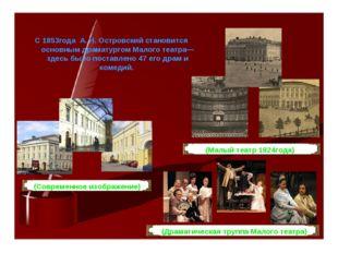 С 1853года А. Н. Островский становится основным драматургом Малого театра— зд