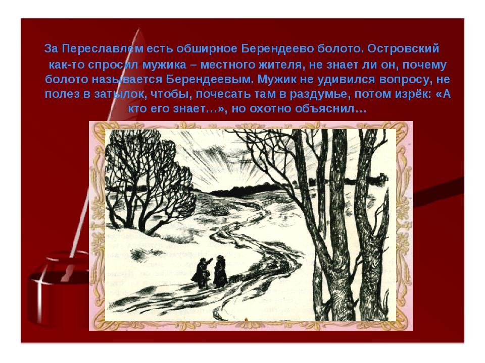За Переславлем есть обширное Берендеево болото. Островский как-то спросил му...
