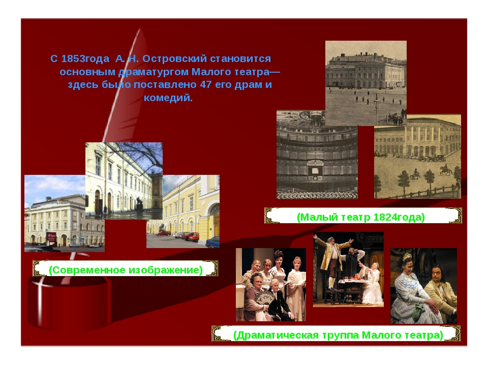 С 1853года А. Н. Островский становится основным драматургом Малого театра— зд...