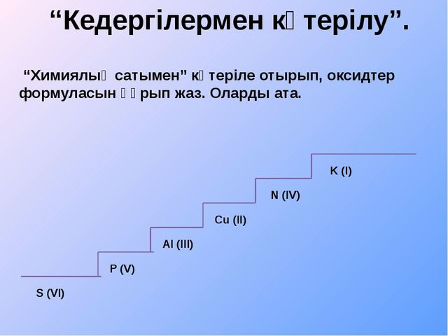 """""""Кедергілермен көтерілу"""". """"Химиялық сатымен"""" көтеріле отырып, оксидтер формул..."""