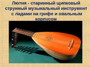 Лютня - старинный щипковый струнный музыкальный инструмент с ладами на грифе