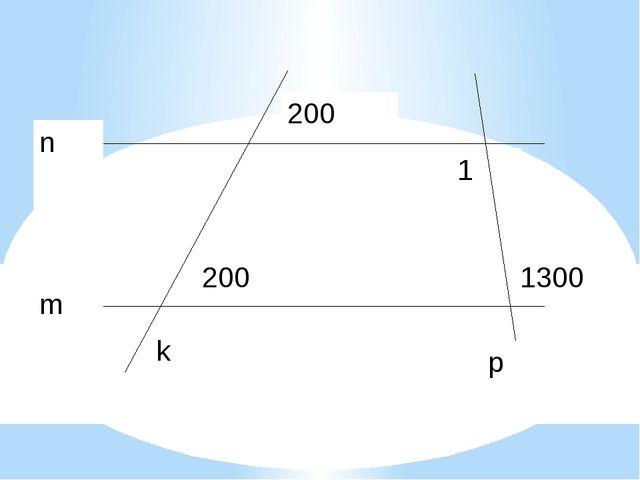 1300 1 200 m n k p 200 Решая задачу, повторяем признаки параллельности прямы...