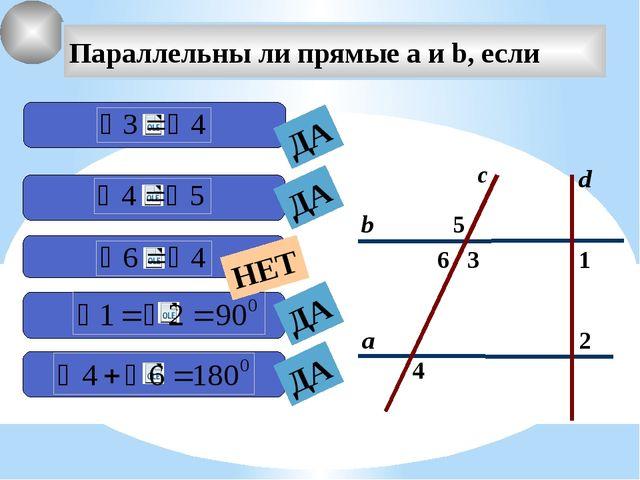 2 1 4 с 3 6 5 а b Параллельны ли прямые а и b, если d ДА ДА ДА ДА НЕТ Графич...