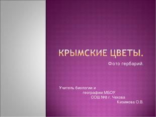 Фото гербарий. Учитель биологии и географии МБОУ СОШ №8 г. Чехова Кизимова О.В.