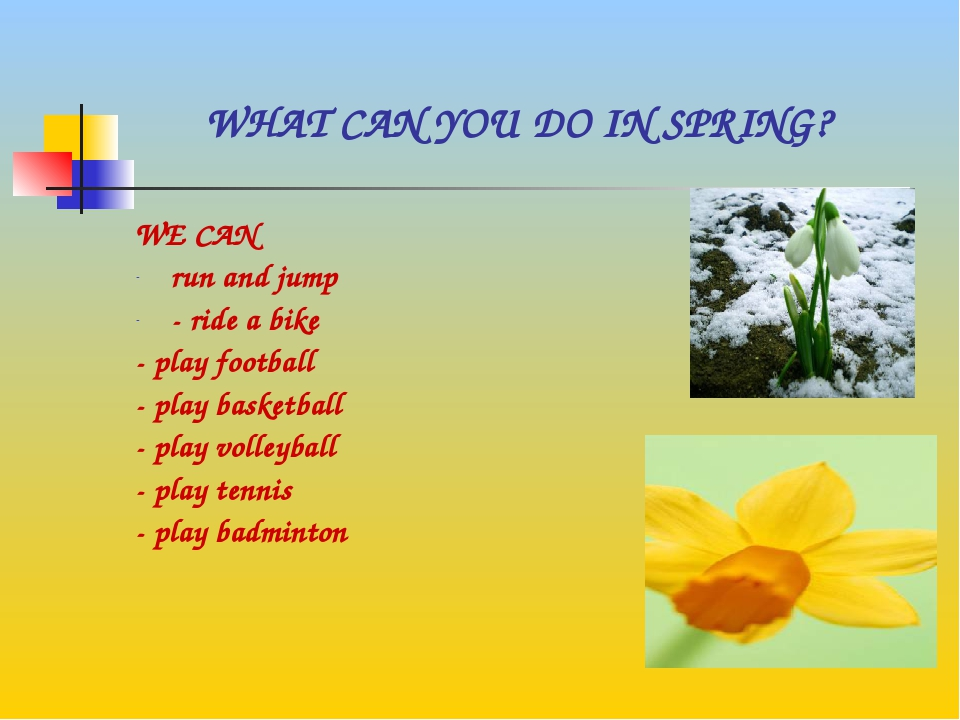 WHAT CAN YOU DO IN SPRING? WE CAN run and jump - ride a bike - play football...