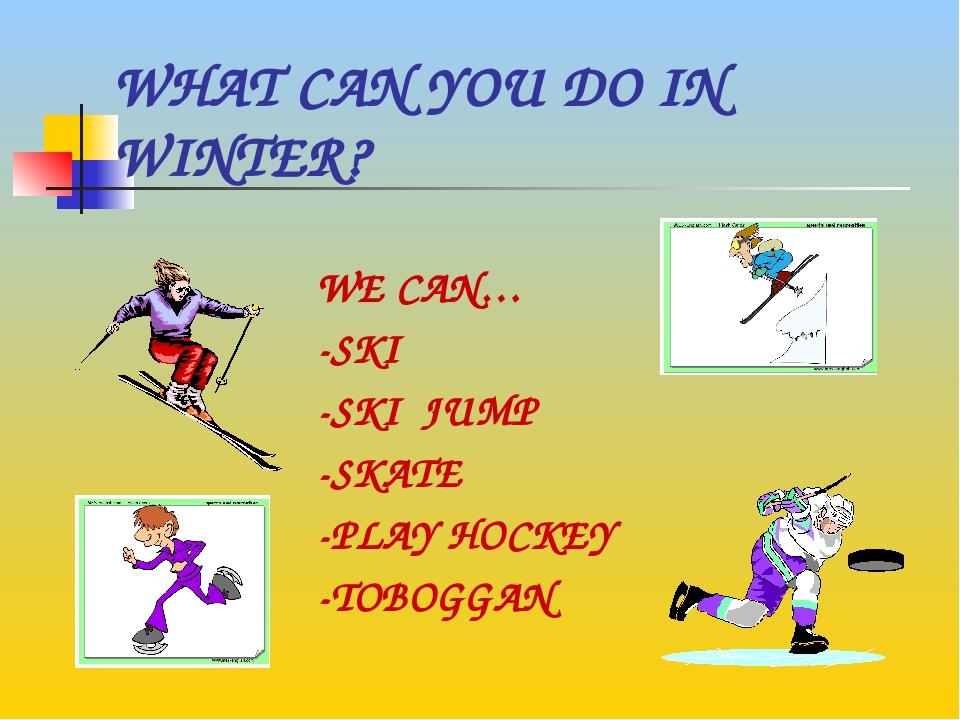 WHAT CAN YOU DO IN WINTER? WE CAN… -SKI -SKI JUMP -SKATE -PLAY HOCKEY -TOBOGGAN