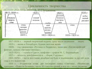 1817-1818г.г. – первый творческий подъем, сразу после окончания лицея; 1819 г