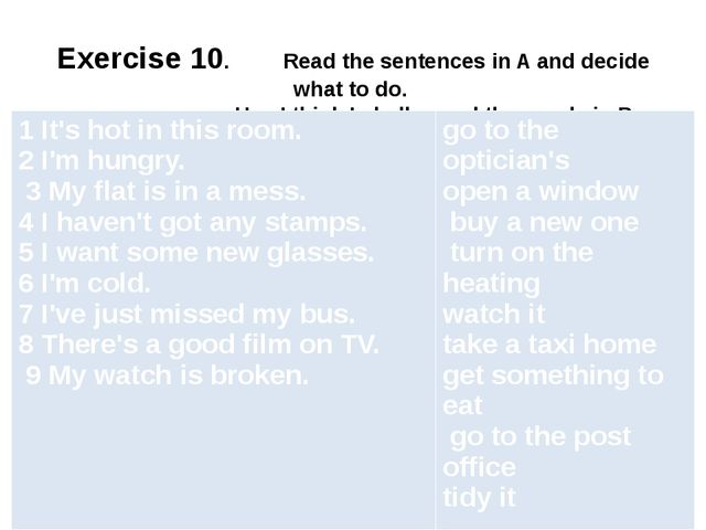 Exercise 10. Read the sentences in A and decide what to do. Use I think I sh...