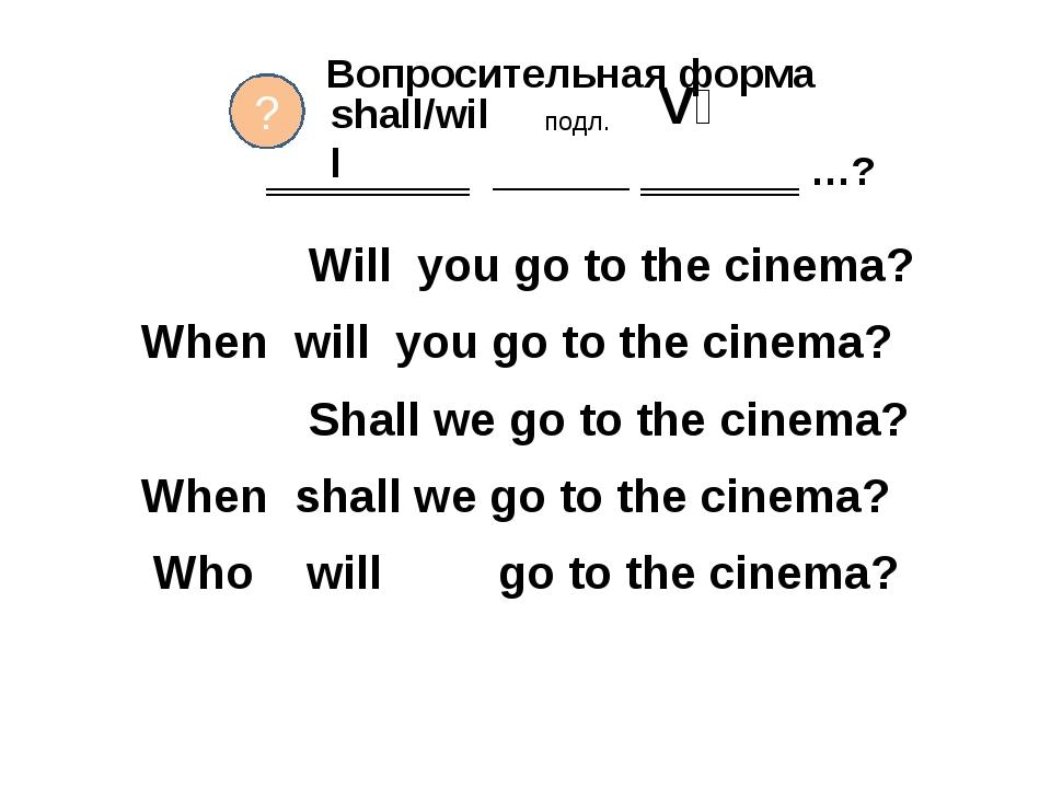 Вопросительная форма ‗‗‗‗‗‗‗‗‗ ______ ‗‗‗‗‗‗‗ …? Will you go to the cinema? W...
