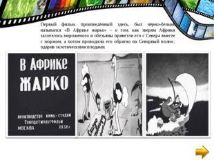 Первый фильм, произведённый здесь, был чёрно-белым, назывался «В Африке жарко