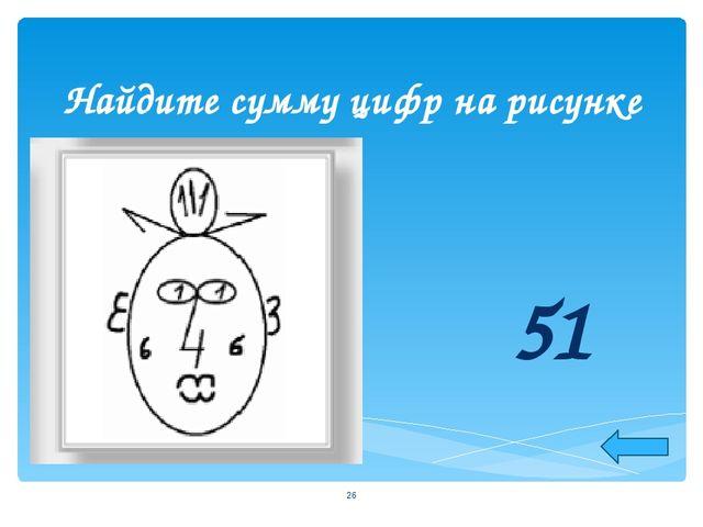 Найдите сумму цифр на рисунке 51 *
