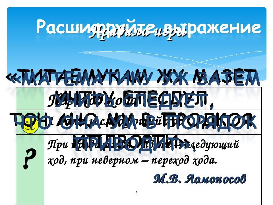 Правила игры * М.В. Ломоносов Переход хода 1 балл и следующий ход ? При пр...