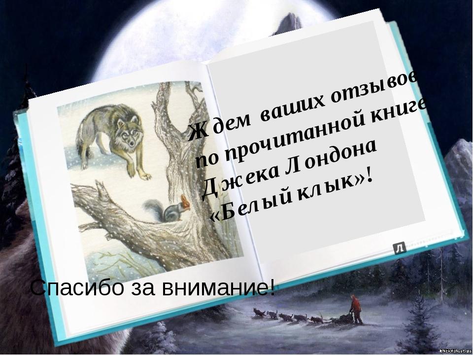 Ждем ваших отзывов по прочитанной книге Джека Лондона «Белый клык»! Спасибо...