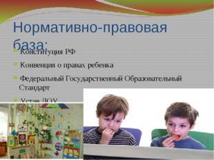 Нормативно-правовая база: Конституция РФ Конвенция о правах ребенка Федеральн
