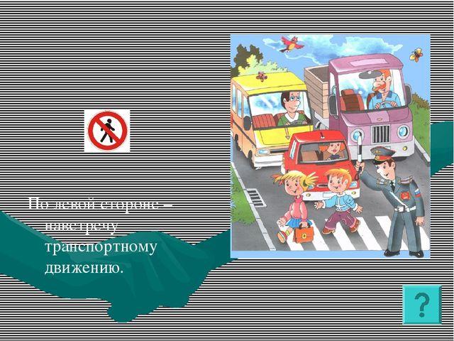 По левой стороне – навстречу транспортному движению.