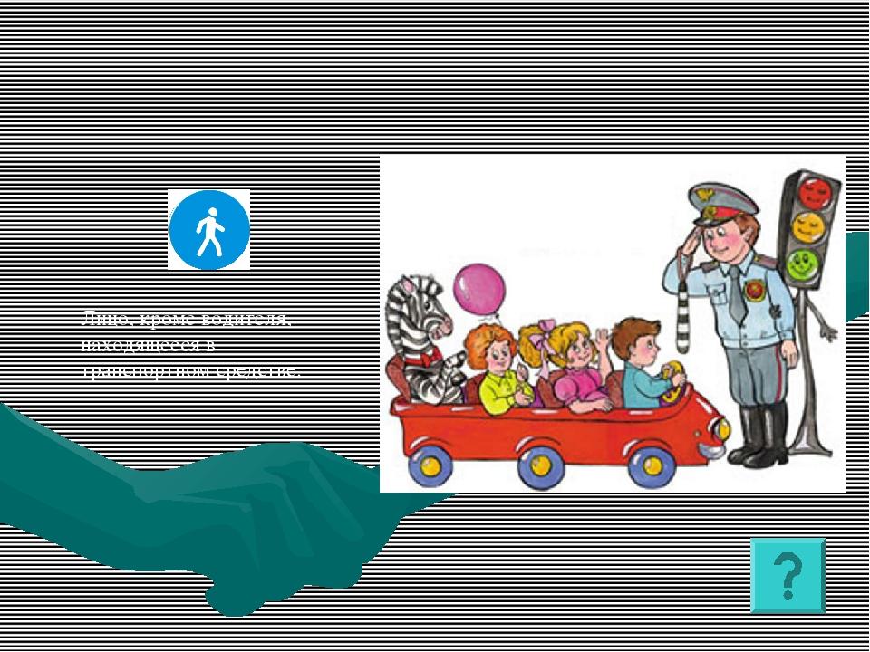 Лицо, кроме водителя, находящееся в транспортном средстве.