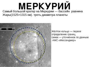 МЕРКУРИЙ Самый большой кратер на Меркурии— бассейн равнина Жары(1525×1315
