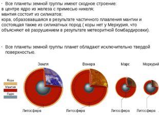 Все планеты земной группы имеют сходное строение: в центреядроиз железа с п