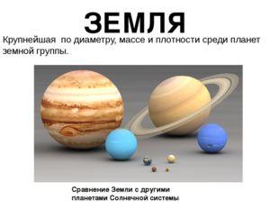 ЗЕМЛЯ Крупнейшая подиаметру,массеиплотностисредипланет земной группы. С