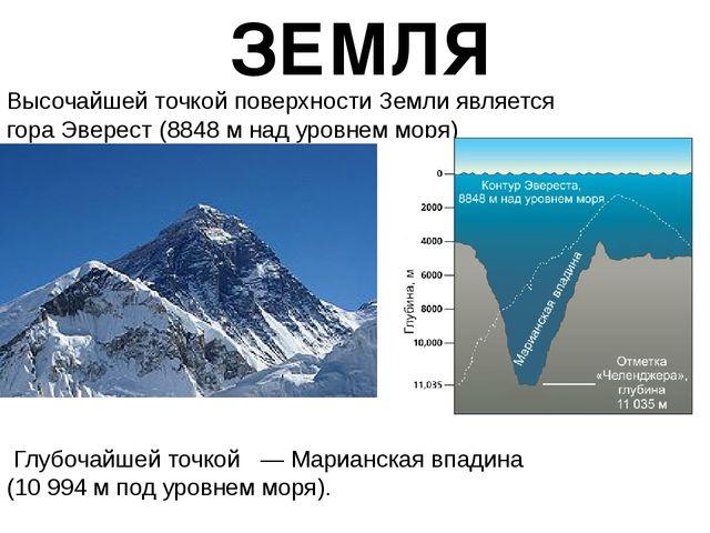 Высочайшей точкой поверхности Земли является гораЭверест(8848м надуровнем...