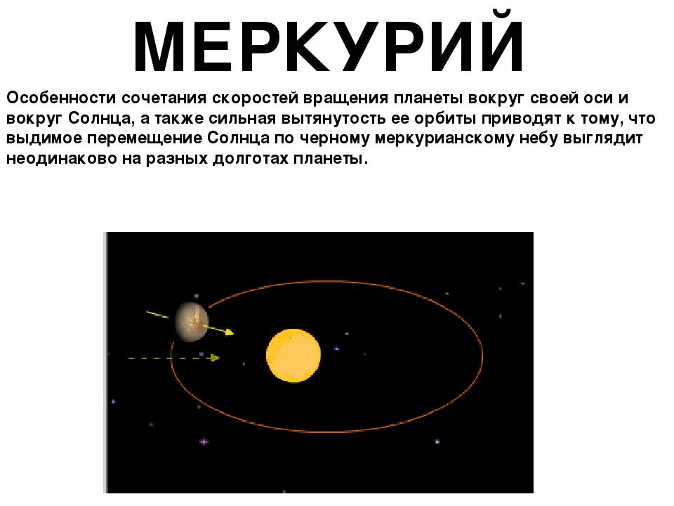МЕРКУРИЙ Особенности сочетания скоростей вращения планеты вокруг своей оси и...