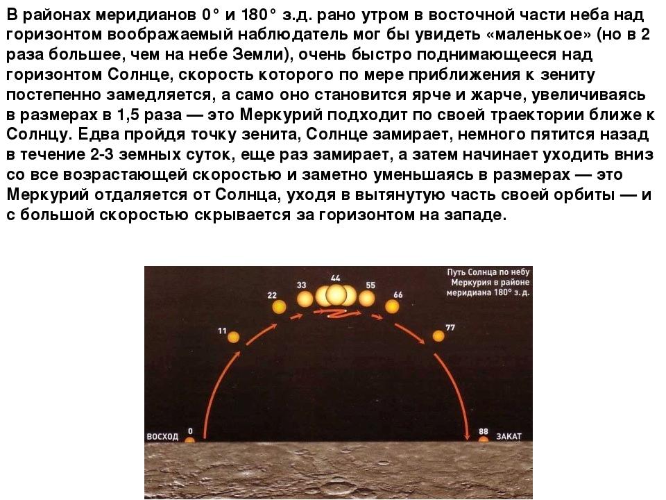 В районах меридианов 0° и 180° з.д. рано утром в восточной части неба над гор...