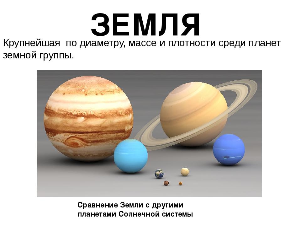 ЗЕМЛЯ Крупнейшая подиаметру,массеиплотностисредипланет земной группы. С...