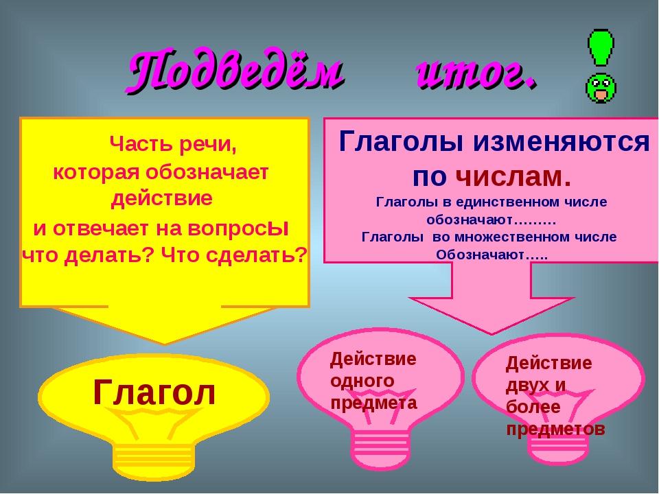 Подведём итог. Часть речи, которая обозначает действие и отвечает на вопросы...