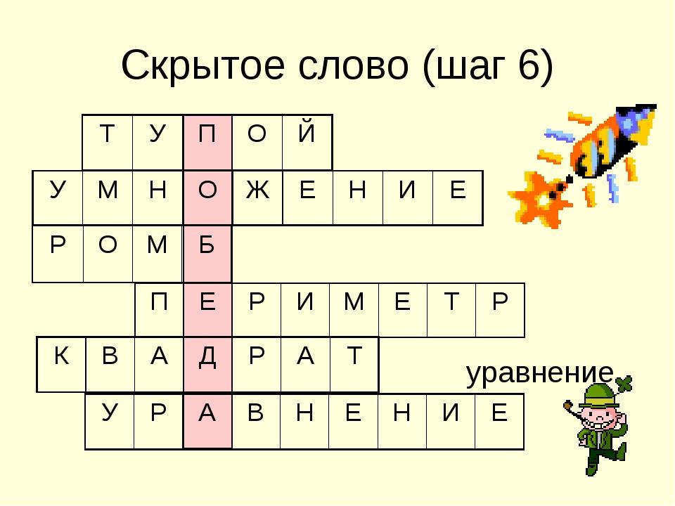 Скрытое слово (шаг 6) уравнение УМНОЖЕНИЕ РОМБ ПЕРИМЕТР КВ...