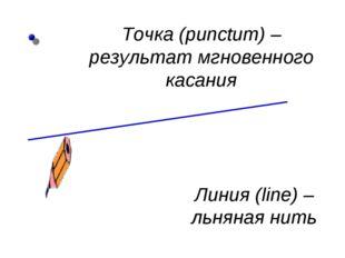 Точка (punctum) – результат мгновенного касания Линия (line) – льняная нить