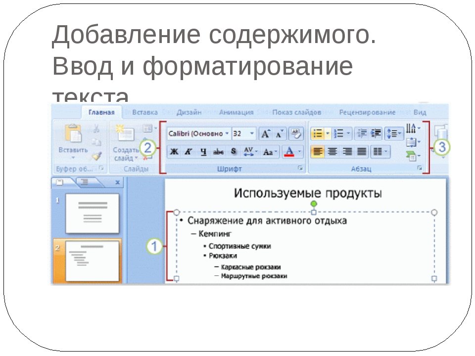 Добавление содержимого. Ввод и форматирование текста.