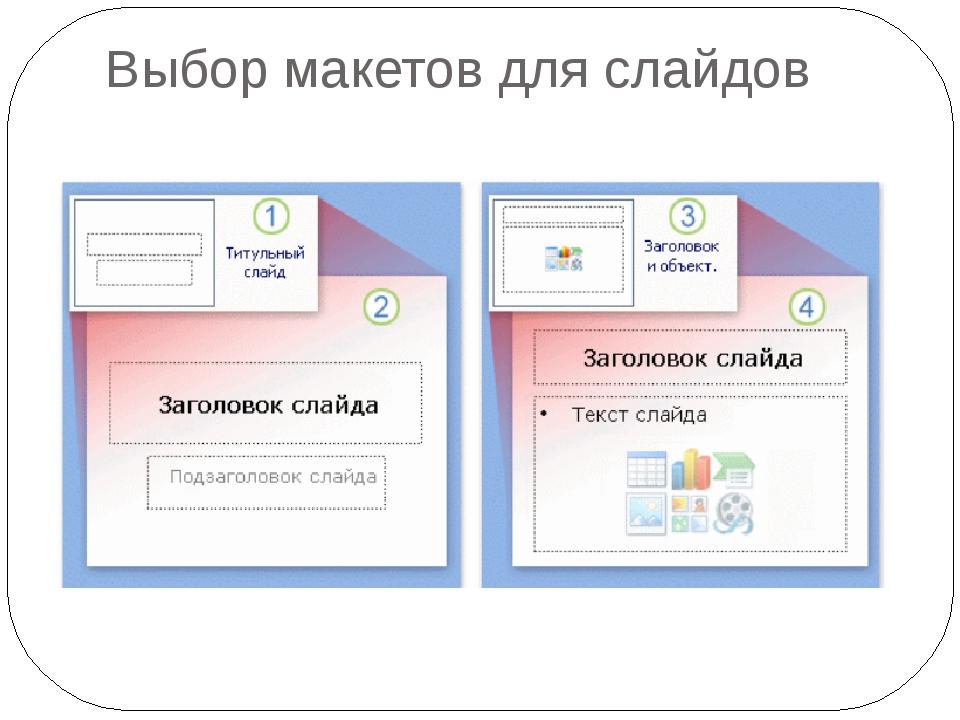 Выбор макетов для слайдов  На рисунке показаны макеты, которые PowerPoint ис...