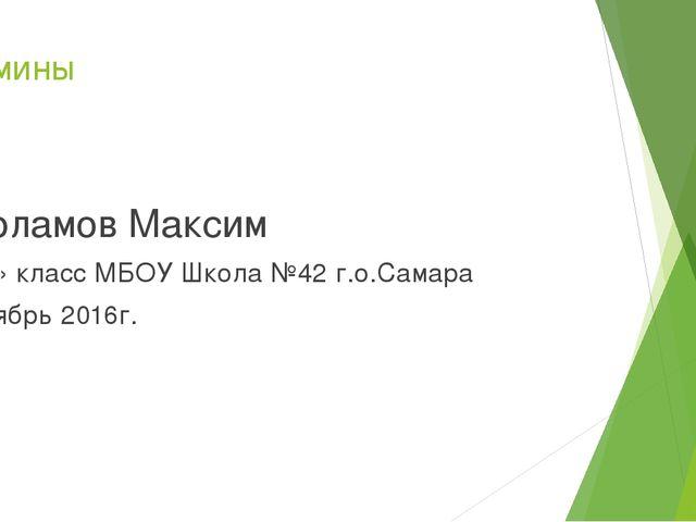 Витамины Варламов Максим 5 «А» класс МБОУ Школа №42 г.о.Самара Октябрь 2016г.