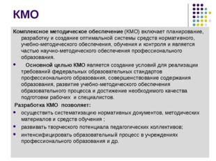 КМО Комплексное методическое обеспечение (КМО) включает планирование, разрабо