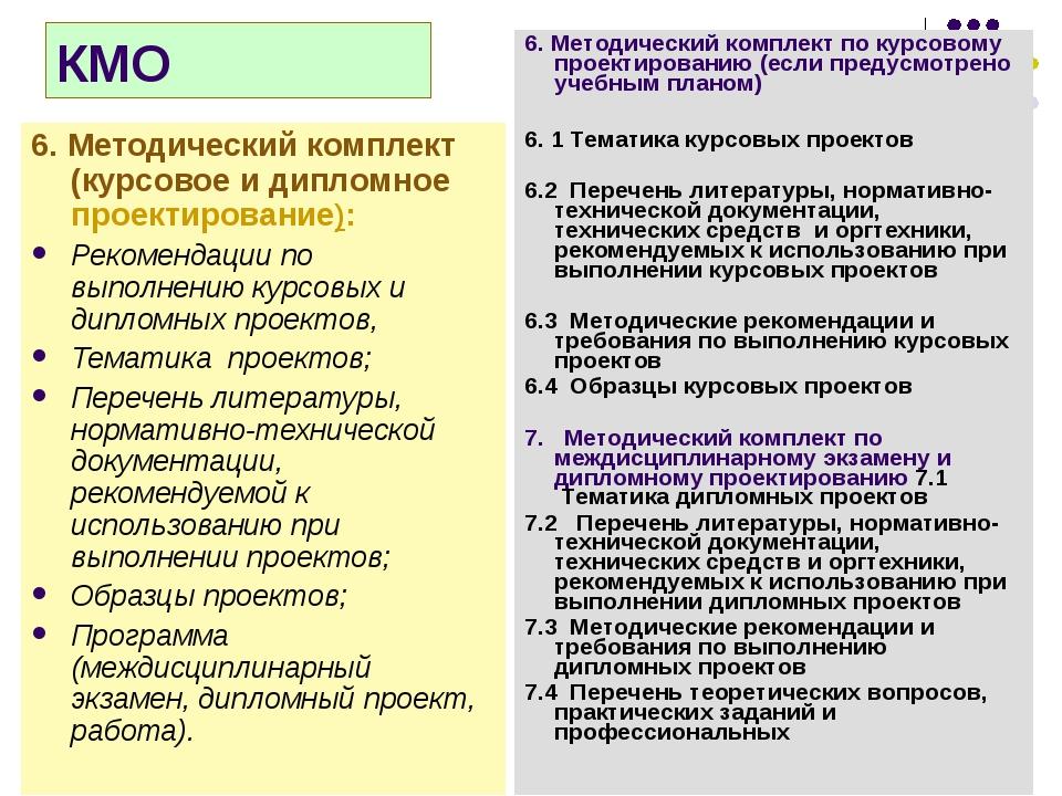 КМО 6. Методический комплект (курсовое и дипломное проектирование): Рекоменда...