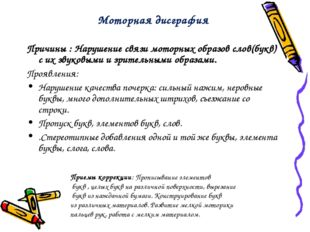 Причины : Нарушение связи моторных образов слов(букв) с их звуковыми и зрител