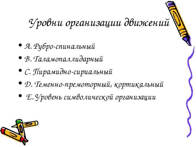 Уровни организации движений А. Рубро-спинальный В. Таламопаллидарный С. Пирам...