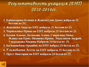Результативность учащихся (ЕНТ) 2010-2014гг. 1. Байназарова Ксения и Жантагул
