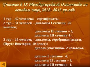 Участие в IX Международной Олимпиаде по основам наук 2012- 2013 уч.год: 1 тур