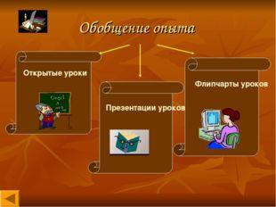 Обобщение опыта Открытые уроки Флипчарты уроков Презентации уроков