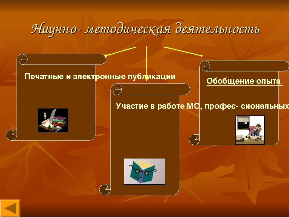 Научно- методическая деятельность Печатные и электронные публикации Обобщение...