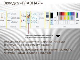 Вкладка «ГЛАВНАЯ» Для некоторых команд и инструментов есть дополнительные воз