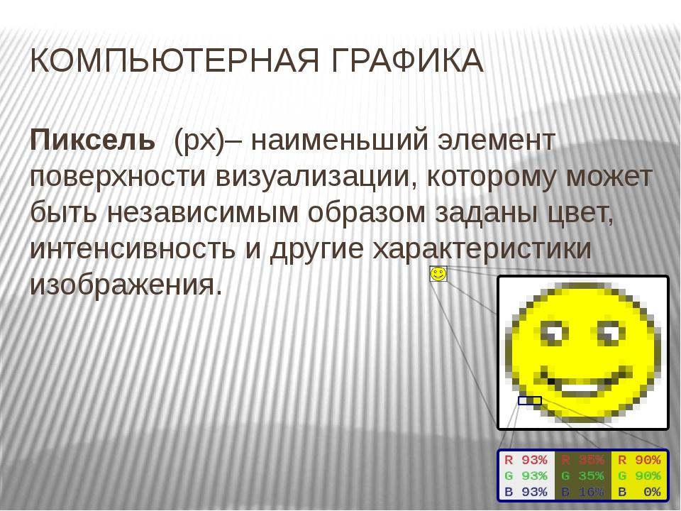 КОМПЬЮТЕРНАЯ ГРАФИКА Пиксель (px)– наименьший элемент поверхности визуализаци...