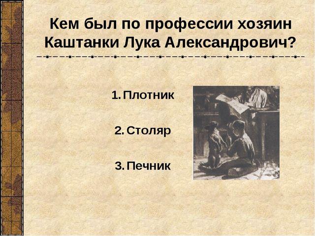 Кем был по профессии хозяин Каштанки Лука Александрович? Плотник Столяр Печник