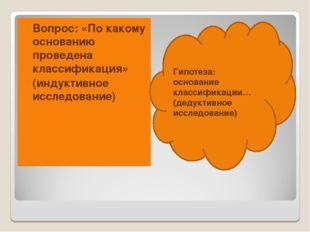 Вопрос: «По какому основанию проведена классификация» (индуктивное исследован